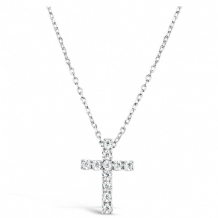 Lovely Rhodium Plated Cross Necklace with Cubic Zirconia Stones